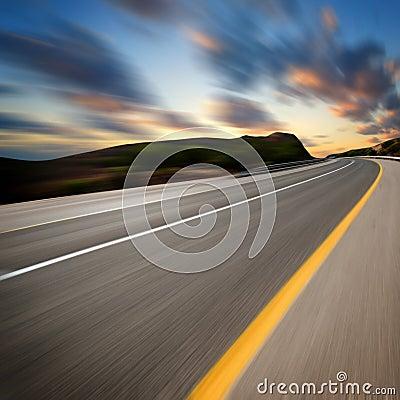 Road art sunset