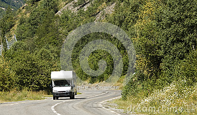 Road, auto camper in France.