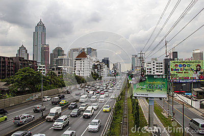 A road in Bangkok Editorial Photography