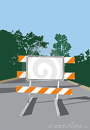 Road Barricade-Blank Sign