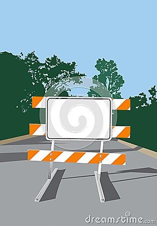 Road Barricade-Blank Sign