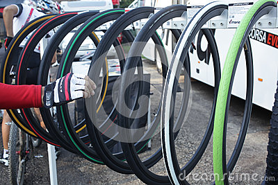 Road bike tires for racing Editorial Photo