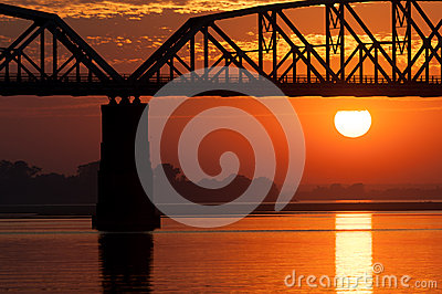 Sunset on the Irrawaddy river, Myanmar