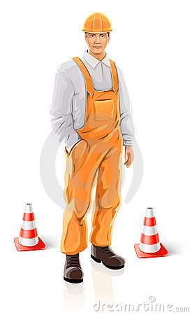 Road builder man isolated