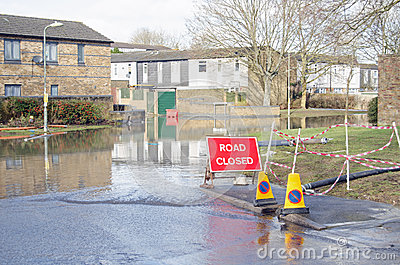 Road closed by flooding, Basingstoke Editorial Stock Image