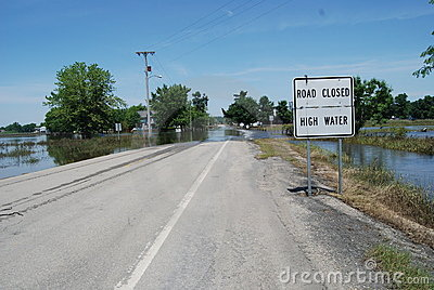 Road Closed High Water - Flood Editorial Stock Image