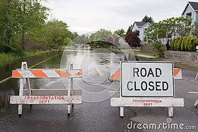 Road Closed Horizontal Flooded Street