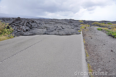 Road closed by lava in Hawaii