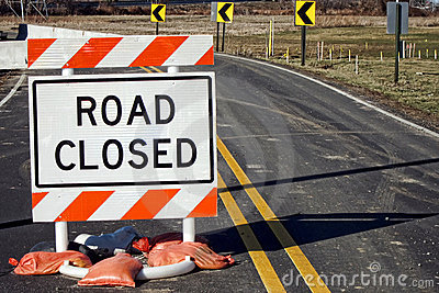 Road Closed Traffic Sign at Improvement Work Site