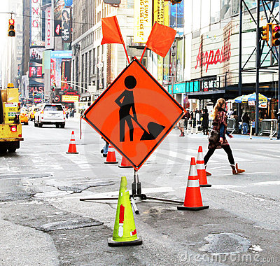 Road construction in the city. Editorial Stock Photo