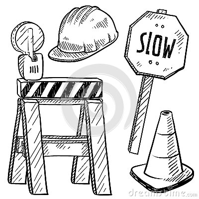 Road construction objects vector
