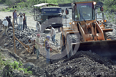 Road construction and road builders in Nicaragua Editorial Stock Photo