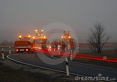 Road construction at twilight