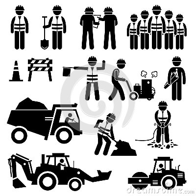 Free Road Construction Worker Stick Figure Pictogram Icons Stock Photos - 58635913