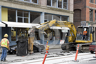 Road construction worker Editorial Stock Image