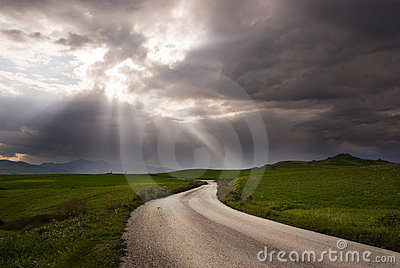 Road crosses a prairie