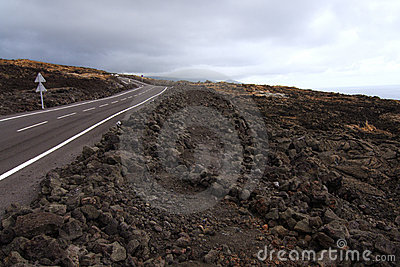 Road crossing a lava flow