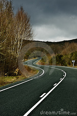 Road curves between nature and the mountains
