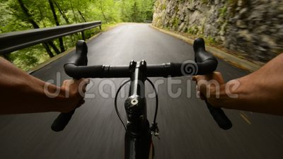 Road cycling. Wide angle speed shoot