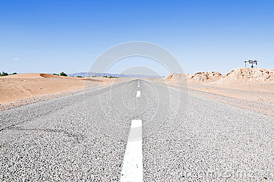 Road through the desert in Morocco
