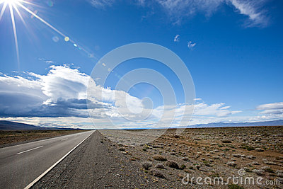 Road in the desert of Patagonia