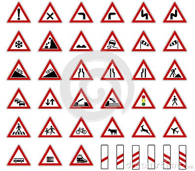 Road europe traffic sign collection vector isolated on white background Stock Photo