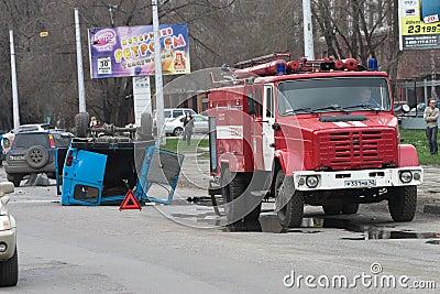 Road failure Editorial Stock Photo