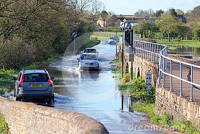 Road flooded by recent heavy rain. Editorial Stock Photo