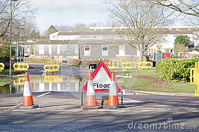Road with floodwater, Basingstoke Editorial Image