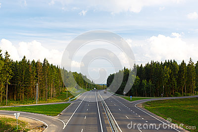 Road and forest around