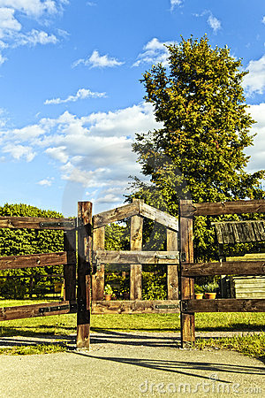 Road gate trees and sky