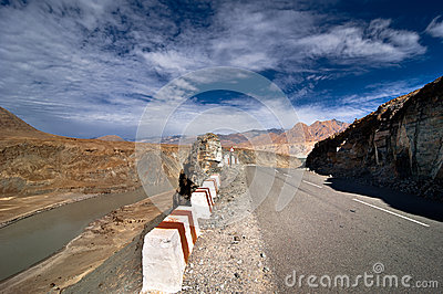 Road going across Himalaya mountains