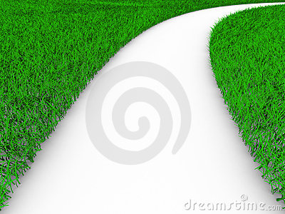 Road on grass. 3D image Stock Photo