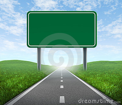 Road with highway sign Stock Photo