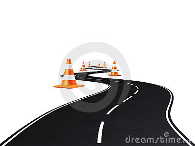Road, highway, traffic cones