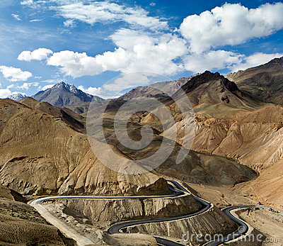 Road in the Himalayas mountains