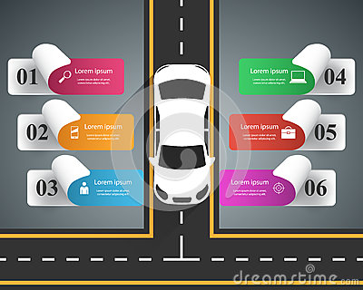 Road infographic design template and marketing icons. Car icon. Vector Illustration