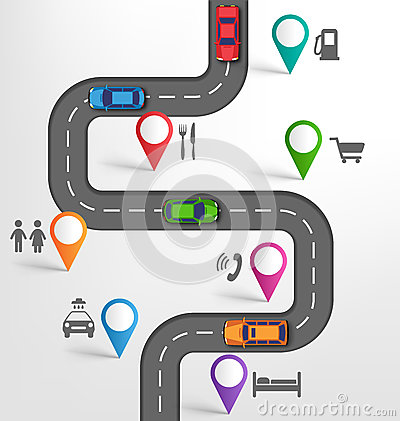Free Road Infographic Travel Background With Pointers Stopovers Marks Royalty Free Stock Image - 56693076