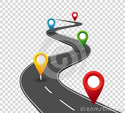 Road infographics. Winding road to success with pin pointers. Business journey way. Progress concept Vector Illustration