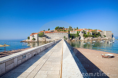 Road on the island Sveti Stefan.