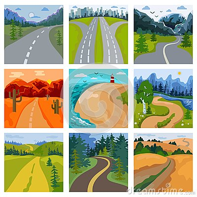 Free Road Landscape Vector Roadway In Forest And Cityscape Highway Or Roadside Way To Field Lands With Grass And Trees In Stock Image - 122290171