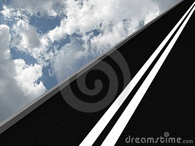 Road leading into the sky. 3D