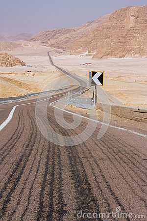 Road, leaving a zigzag in the desert