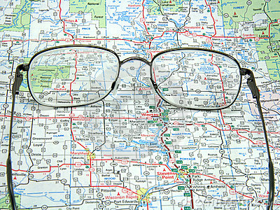 Road map and glasses