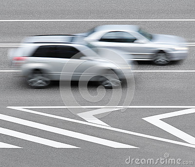 Road markings and cars