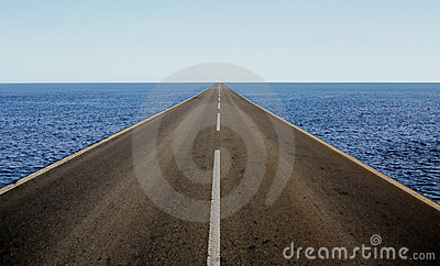 Road in the middle of the sea