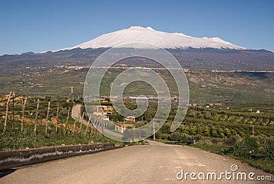 Road for mount Etna