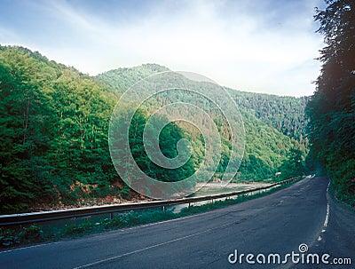 Road through the mountain.