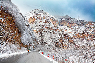 Road in mountain after snow