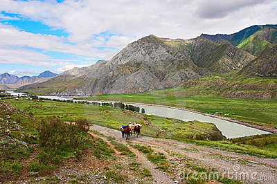 Road, mountains, two horses and mens.
